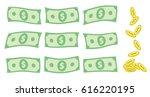 set of falling us dollar bank... | Shutterstock .eps vector #616220195