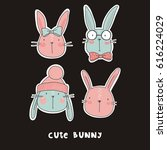 vector print with cute bunny | Shutterstock .eps vector #616224029