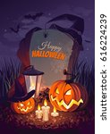 halloween pumpkin and a... | Shutterstock .eps vector #616224239