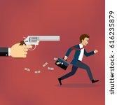 businessman running away from... | Shutterstock .eps vector #616235879