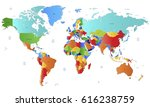 world map countries vector on...   Shutterstock .eps vector #616238759