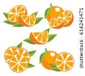 orange fruit with leaves.... | Shutterstock .eps vector #616241471