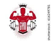 bodybuilding weightlifting gym... | Shutterstock .eps vector #616249781