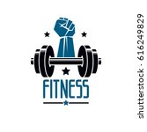 gym and fitness logo template ... | Shutterstock .eps vector #616249829