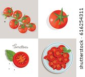 red tomatoes and basil. chopped ... | Shutterstock .eps vector #616254311