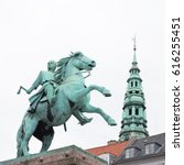Small photo of COPENHAGEN, DENMARK - JUNE 14: Old Town with Absalon statue in Copenhagen in Denmark on June 14, 2016.