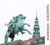 Small photo of COPENHAGEN, DENMARK - JUNE 14: Old Town with Absalon statue in Copenhagen in Denmark on June 14, 2016.