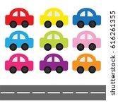 cartoon car set and horizontal... | Shutterstock .eps vector #616261355
