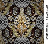flat hand drawn vintage... | Shutterstock . vector #616263605