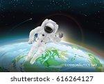 festive card for cosmonautics...   Shutterstock .eps vector #616264127