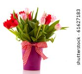Bouquet Of Red And Pink Tulips...