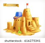 sand play  sandcastle 3d vector ... | Shutterstock .eps vector #616275341