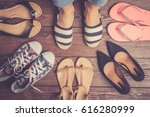 collection of female shoes on... | Shutterstock . vector #616280999