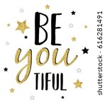 beautiful glitter slogan vector. | Shutterstock .eps vector #616281491