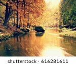 Autumn Mountain River With...