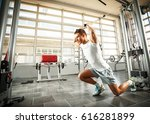 young man with sport body doing ... | Shutterstock . vector #616281899