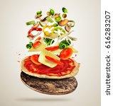 concept of flying ingredients... | Shutterstock . vector #616283207