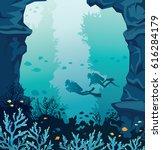 underwater marine life. vector...   Shutterstock .eps vector #616284179