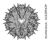 zentangle feather mandala  page ... | Shutterstock .eps vector #616289639