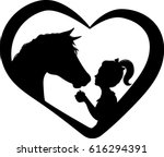 horse and girl heart silhouette ...
