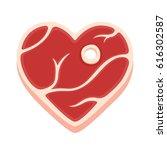 heart shaped steak isolated... | Shutterstock .eps vector #616302587