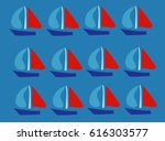 hand drawn sailing boat pattern ... | Shutterstock .eps vector #616303577