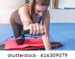young athlete doing stretching...   Shutterstock . vector #616309079