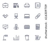 set of 16 service outline icons ... | Shutterstock .eps vector #616309709