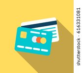credit cards in flat style.... | Shutterstock .eps vector #616331081