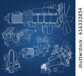 a big diesel engine with the...   Shutterstock .eps vector #616332854
