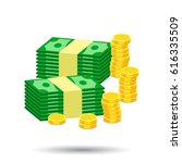 stacks of gold coins and stacks ... | Shutterstock .eps vector #616335509