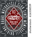 vintage motorcycle hand drawn... | Shutterstock .eps vector #616338539