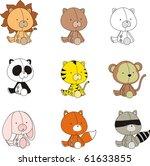 baby animals set in vector... | Shutterstock .eps vector #61633855