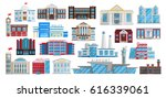buildings set isolated in flat... | Shutterstock .eps vector #616339061