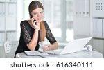 nice business woman sitting ... | Shutterstock . vector #616340111