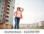 engineer builder woman in... | Shutterstock . vector #616340789