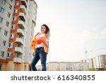 engineer builder woman in... | Shutterstock . vector #616340855