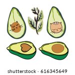 avacado illustration funny | Shutterstock .eps vector #616345649