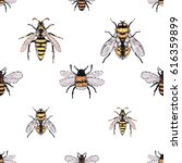 embroidery yellow fly  honey... | Shutterstock .eps vector #616359899