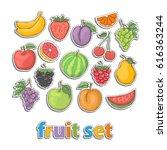 fruit set.vector hand draw in...   Shutterstock .eps vector #616363244