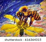 bee. colored art illustration.... | Shutterstock . vector #616364315