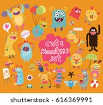 funny and crazy monsters | Shutterstock .eps vector #616369991
