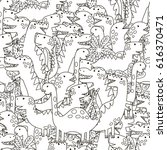 doodle dinosaurs seamless...   Shutterstock .eps vector #616370471