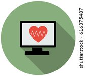 heart rate monitor in flat... | Shutterstock .eps vector #616375487