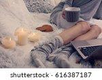 cozy evening   warm woolen...   Shutterstock . vector #616387187