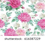 watercolor roses pattern | Shutterstock . vector #616387229