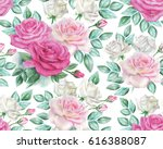 watercolor roses pattern | Shutterstock . vector #616388087