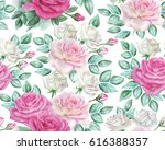 watercolor roses pattern | Shutterstock . vector #616388357