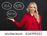 beautiful business woman with... | Shutterstock . vector #616390421