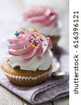 cup cakes with vanilla and... | Shutterstock . vector #616396121